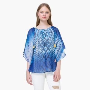 Блузка объемная  с рисунком, рукава 3/4 DESIGUAL. Цвет: синий