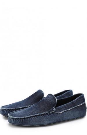 Текстильные мокасины Tod's. Цвет: синий