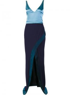 V-neck layered dress Galvan. Цвет: синий