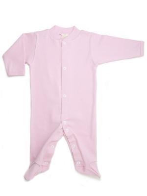 Пижама-комбинезон из органического хлопка Greenera. Цвет: розовый