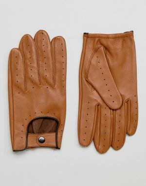 Barney's Originals Светло-коричневые автомобильные перчатки Barneys. Цвет: рыжий