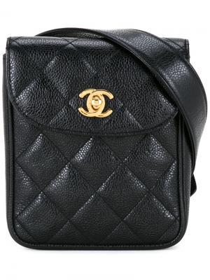 Стеганая сумка на пояс Chanel Vintage. Цвет: чёрный