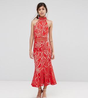 Jarlo Кружевное платье миди с высоким воротом. Цвет: красный