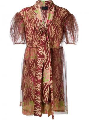 Тюлевое платье с цветочным принтом Simone Rocha. Цвет: красный