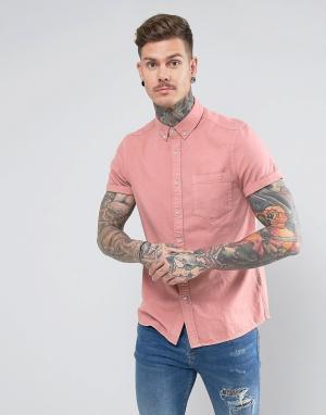 ASOS Розовая джинсовая рубашка классического кроя. Цвет: розовый
