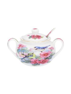 Сахарница Синички в цветах Elan Gallery. Цвет: розовый, голубой, зеленый