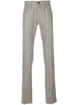 Классические полосатые брюки Jacob Cohen. Цвет: телесный
