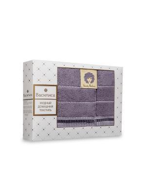 Комплект полотенец махровых гладкокрашеных с бордюром Sweety Barbara, 50х90см-1шт, 70*130см-1шт. Василиса. Цвет: серый