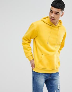 BoohooMAN Флисовый худи желтого цвета с вышивкой. Цвет: желтый