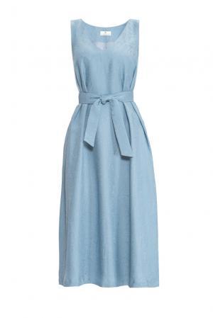 Платье с поясом 155673 Laroom. Цвет: синий