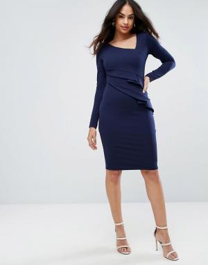 City Goddess Платье-футляр с длинными рукавами и оборками. Цвет: темно-синий