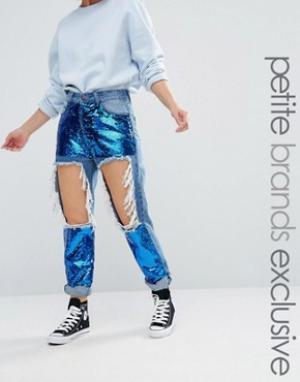 Liquor & Poker Petite Рваные облегающие джинсы с пайетками. Цвет: синий