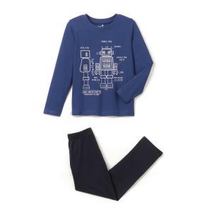 Пижама с рисунком робот из хлопка, 2-12 лет La Redoute Collections. Цвет: синий морской