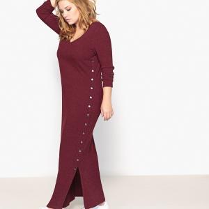 Платье-пуловер длинное, однотонное, с длинными рукавами CASTALUNA. Цвет: бордовый меланж