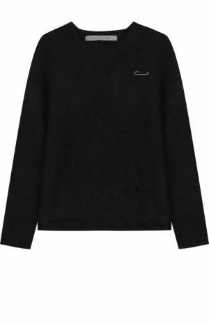Пуловер фактурной вязки с круглым вырезом Raquel Allegra. Цвет: черный