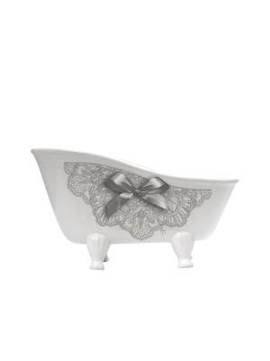 Подставка-ванночка средняя керамическая 25,5х13,5х14см Кружево Mathilde M. Цвет: белый