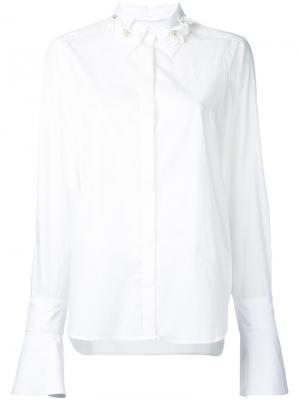 Рубашка с декорированным воротником Muveil. Цвет: белый