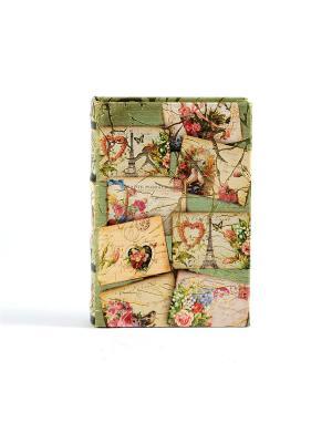 Шкатулка-фолиант Почтовая открытка 14*10*3см Русские подарки. Цвет: светло-зеленый, светло-оранжевый