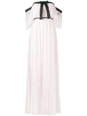 Плиссированное кружевное вечернее платье Giambattista Valli. Цвет: розовый и фиолетовый
