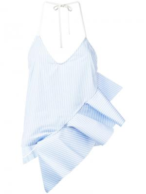 Striped ruffle trim top Ssheena. Цвет: синий
