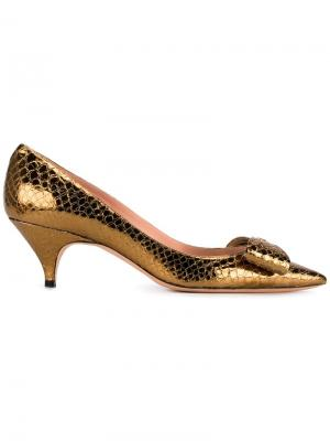 Туфли с бантом Rochas. Цвет: металлический
