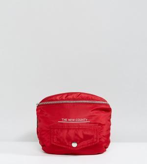 The New County Красная большая дутая сумка-кошелек на пояс. Цвет: красный