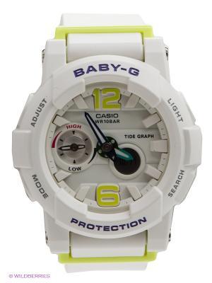 Часы Baby-G BGA-180-7B2 CASIO. Цвет: белый, салатовый