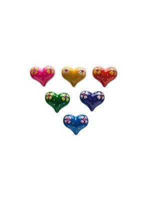 Сердце набор магнитов 6 шт. Elff Ceramics. Цвет: синий, зеленый, фиолетовый, красный, розовый, желтый