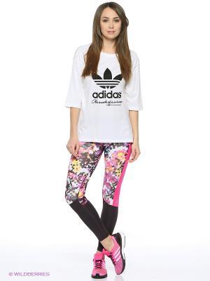 Леггинсы Tf L Floral Tt Adidas. Цвет: белый, синий, розовый, желтый
