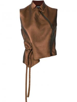Блузка с завязками сбоку Ann Demeulemeester. Цвет: коричневый
