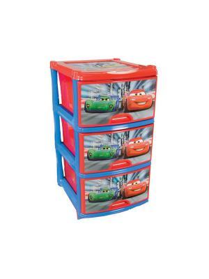 Комод Дисней №2 (для мальч.) 3-х секционный Альтернатива. Цвет: голубой, красный