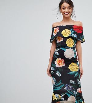 True Violet Tall Платье миди с броским цветочным принтом и вырезом лодочкой. Цвет: черный