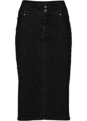 Мода больших размеров: юбка-стретч длиной миди (черный «потертый») bonprix. Цвет: черный «потертый»