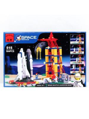 Конструктор Космодром с космическим кораблем и аксесс., 584 дет. ENLIGHTEN. Цвет: синий, красный, желтый, белый