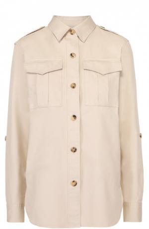 Блуза прямого кроя с накладными карманами и погонами Isabel Marant Etoile. Цвет: кремовый
