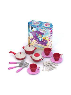 Подарочный набор детской посуды Кухонный сервиз Волшебная хозяюшка Нордпласт.. Цвет: бежевый, красный, розовый