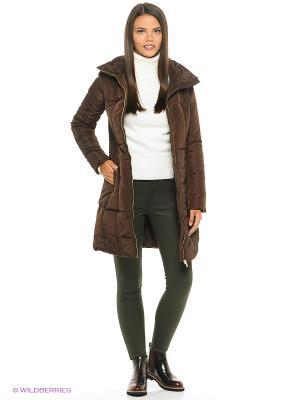 Пальто на синтепоне Modis. Цвет: темно-коричневый