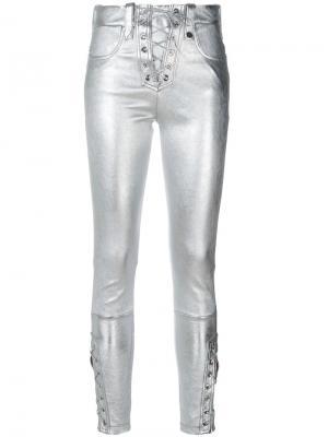 Укороченные брюки со шнуровкой Manokhi. Цвет: серый
