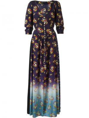 Платье с викторианским узором Marc Jacobs. Цвет: розовый и фиолетовый