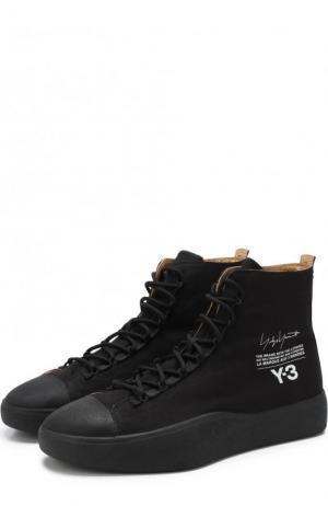 Высокие текстильные кеды Bashyo на шнуровке Y-3. Цвет: черный