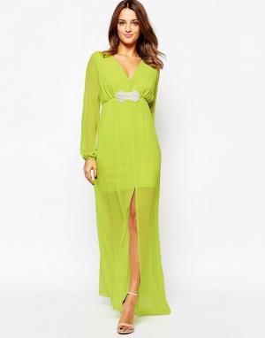 Amy Childs Платье макси с декорированной талией Jocelyn. Цвет: зеленый