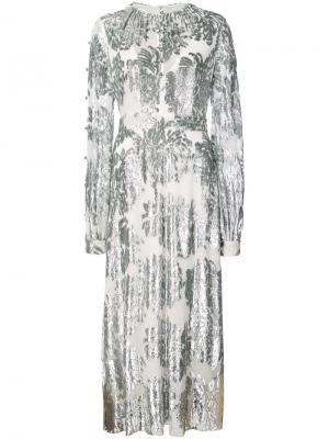 Платье с длинными рукавами на пуговицах Prabal Gurung. Цвет: металлический