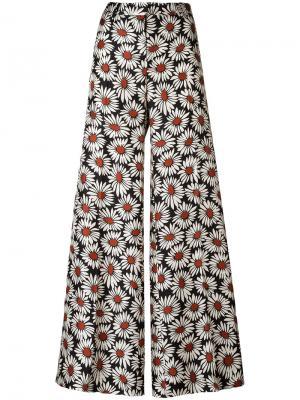 Широкие брюки с цветочным принтом Alberto Biani. Цвет: многоцветный