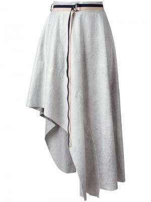Асимметричная юбка Aviù. Цвет: серый