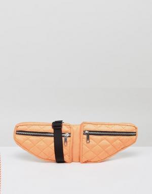 ASOS Стеганая сумка-кошелек на пояс с двумя отделениями LIFESTYLE. Цвет: оранжевый