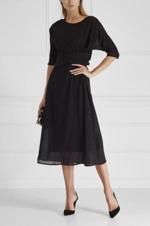 Платье из шелка и хлопка Cyrille Gassiline. Цвет: черный