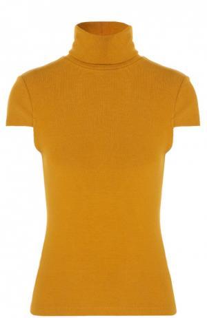 Пуловер с коротким рукавом и высоким воротником Alice + Olivia. Цвет: желтый