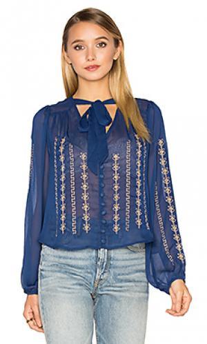 Блуза с вышивкой Band of Gypsies. Цвет: королевский синий