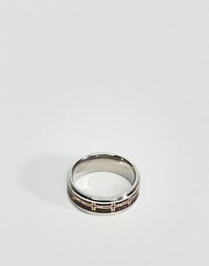 Seven London Серебристо-черное кольцо. Цвет: серебряный