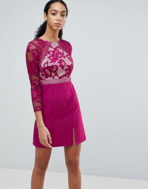 Little Mistress Короткое приталенное платье с кружевным лифом и длинными рукавами Litt. Цвет: розовый